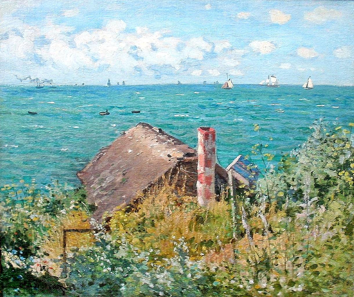 «Η καλύβα θα αποτυπωθεί και στη ζωγραφική των Monet, Van Gogh και Pippin, αλλά και στις μετέπειτα εικαστικές δημιουργίες των Tracey Emin, Will Ryman, Mary Mattingly, Richard Barnes και Phillip K. Smith ΙΙΙ». (Πίνακας: Claude Monet, «The Cabin at Saint-Adresse», 1867)